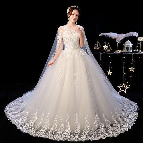 婚纱新娘2021婚纱裙中学生结婚礼服一字肩简约赫本星空齐地奢华