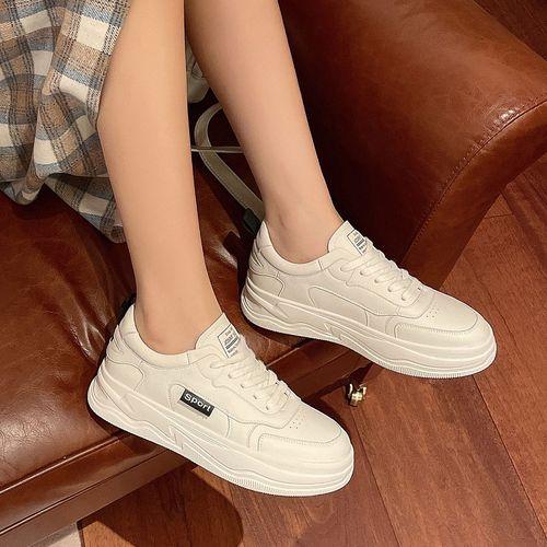 基础小白鞋2021春季新款时尚百搭运动鞋子厚底系带女士休闲鞋