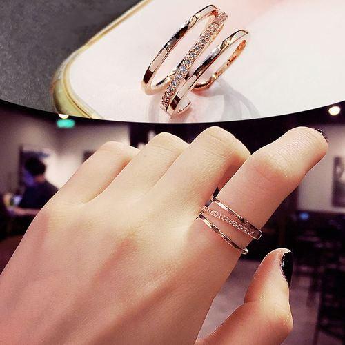 戒指女闭口单只带手指上的首饰少女心戒指女时尚个性