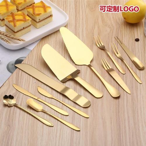 月饼刀叉不锈钢金色蛋糕刀叉 甜品点心西式糕点叉 水果叉烘焙工具