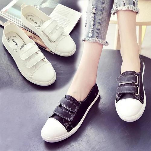 小白鞋女学生休闲鞋2021春季新款魔术贴板鞋女单鞋韩版休闲女鞋子