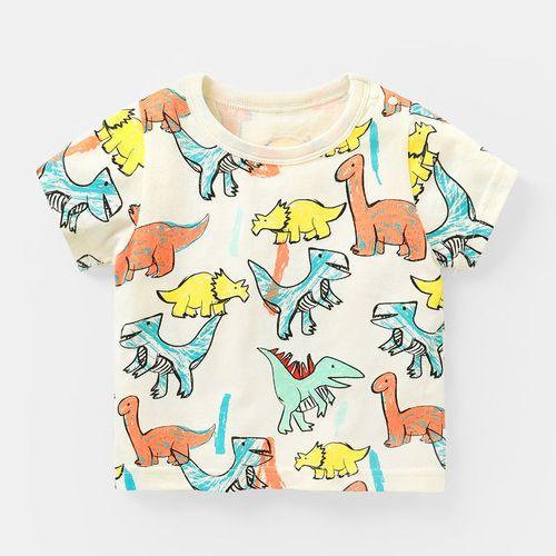 咔咔熊猫婴儿衣服男童短袖t恤夏装儿童3宝宝幼儿女小童1岁半袖 米白色