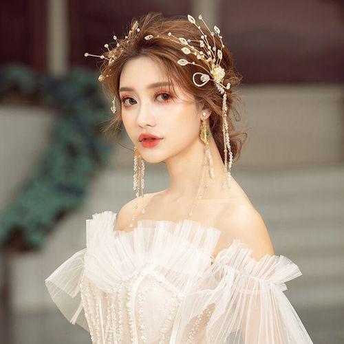 好看的韩式新娘头饰婚纱森系仙美甜美发箍耳环套装