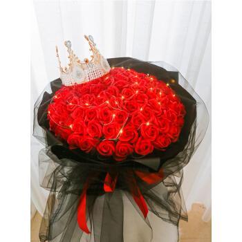999朵玫瑰花束 永生香皂花节送女友求婚表白浪漫实用生日礼物 99